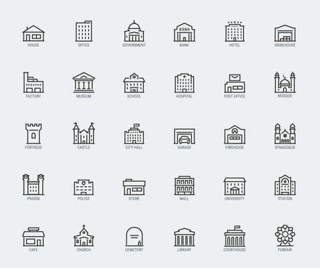 Government and City Buildings Vector Icon Set in Thin Line Style  イラスト・ベクター素材