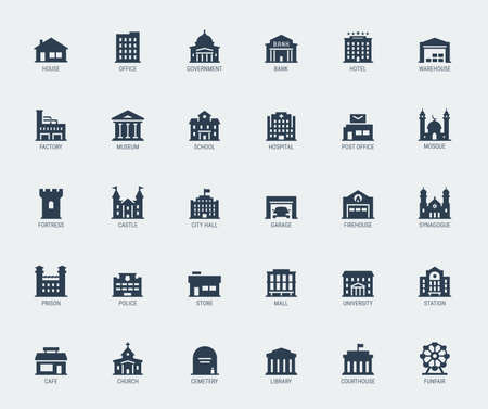 Government and City Buildings Vector Icon Set