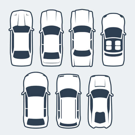 Vector Set of Cars Silhouettes, Top View