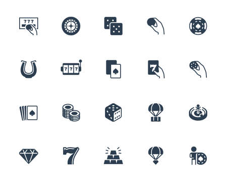 Casino and Gambling Related Vector Icon Set in Glyph Style