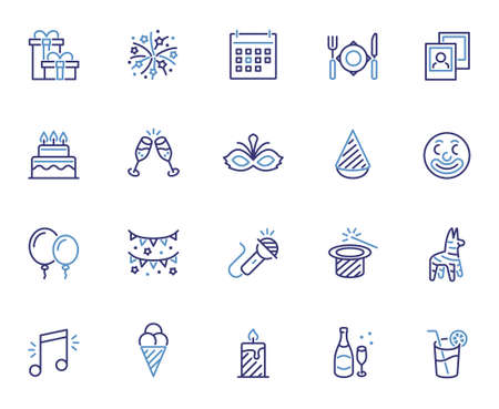Party and Celebrating Related Vector Icon Set in Outline Style