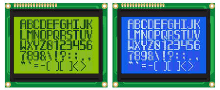 Latin Font for Green and Blue LCD Displays With Dot-Matrix