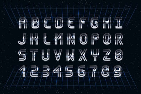Retro Chrome Font in the Style of 80's. Vector Sci-Fi Typography. Letters and Numbers  イラスト・ベクター素材