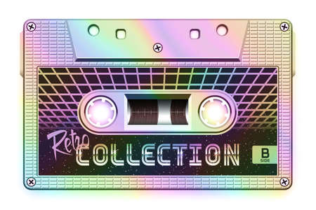 Relistic Iridescent Audio Cassette, Retro Collection, Mixtape in Style of 80s and Retrowave, Synthwave, Vaporwave or Outrun