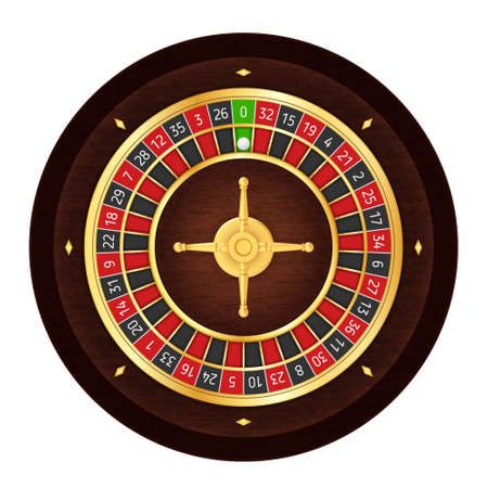 European Realistic Casino Roulette Wheel on White Background  イラスト・ベクター素材