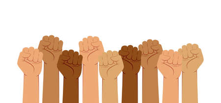 Hands With Fists Raised up, Fight for Rights Concept