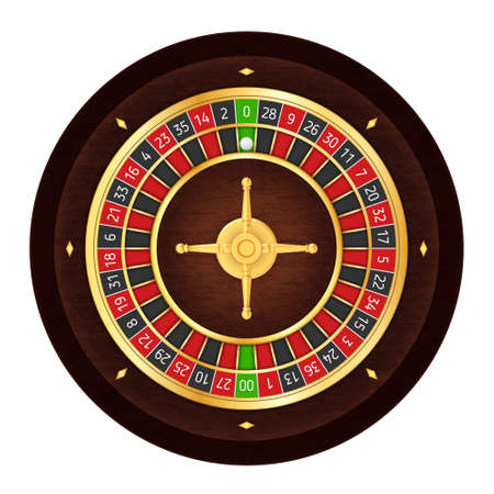 American Realistic Casino Roulette Wheel on White Background  イラスト・ベクター素材