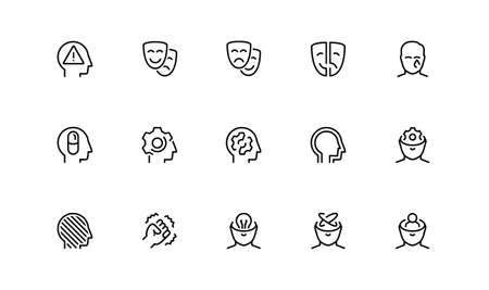 Stress, Depression and Mental Disorders Related Vector Icon Set