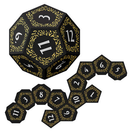 D12 Dice for Boardgames With Paper Unwrap Template  イラスト・ベクター素材
