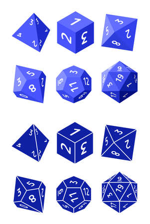D4, D6, D8, D10, D12, and D20 Dice for Boardgames in Flat and Glyph Styles