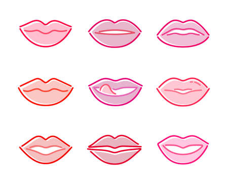 Women's Lips Vector Icon Set in Colored Outline Style