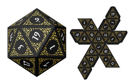 D20 Dice for Boardgames With Paper Unwrap Template