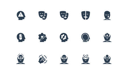 Stress, Depression and Mental Disorders Related Vector Icon Set in Glyph Style  イラスト・ベクター素材