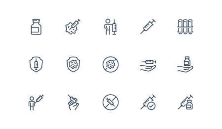 Vaccination Related Vector Icon Set in Outline Style  イラスト・ベクター素材