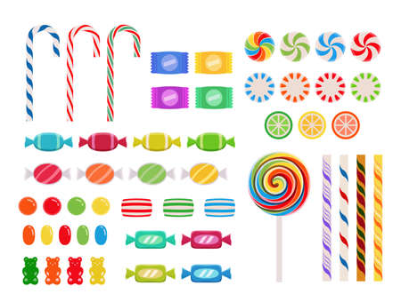 Candy Collection in Flat Design Style