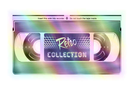 Iridescent Video Recorder Tape. Retro Collection Video Cassette Isolated on a White Background  イラスト・ベクター素材