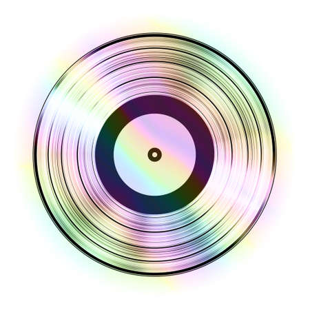 Relistic Iridescent Gramophone Vinyl LP Record Template Isolated on White Background. Vector Illustration