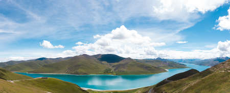 A whole view of Yamdrok Lake in Tibetan pleatu from a high ground.