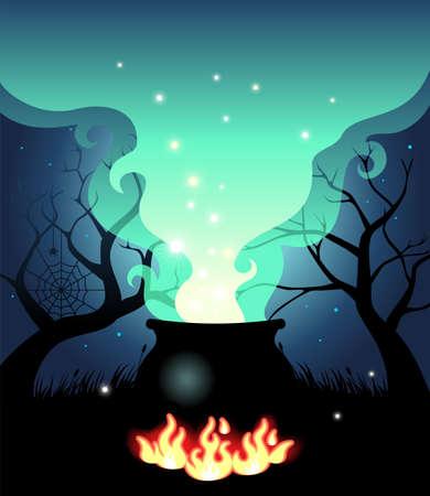 ebullition: Illustration du chaudron bouillant Halloween