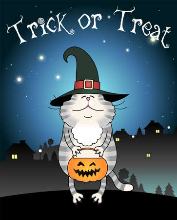 trick or treating: Illustration of funny cat trick or treating , with gradients and grouped