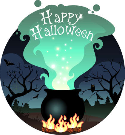 Illustration of Boiling Halloween cauldron made in , with gradients and grouped