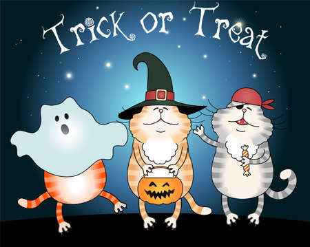 trick or treating: Illustration of three funny cats trick or treating made in Eps 10, with gradients and grouped