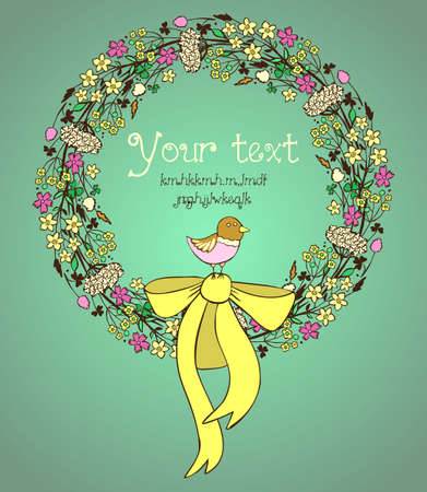 Illustration of hand drawn meadow flowers wreath with ribbon and little bird Vector