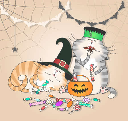 Illustration of funny cats eating halloween candy  Vector