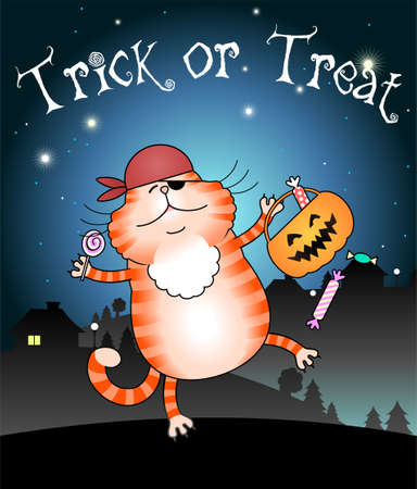 treating: Illustration of funny cat trick or treating