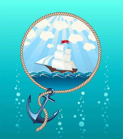 ship anchor: Illustration of ship in the sea and anchor made in Eps 10, with gradients and grouped Illustration
