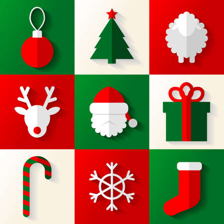 Set of Christmas and New Year icons made in Eps 10, with blend and grouped Vector