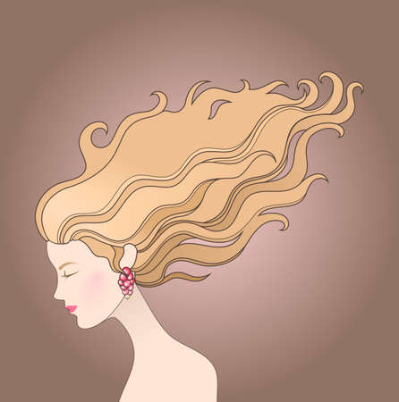 cabello largo y hermoso: Ilustraci�n de la chica con el pelo largo y hermoso en un viento