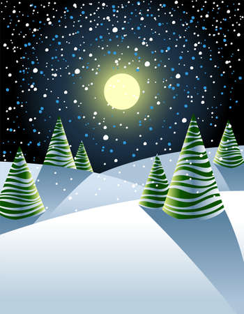 firtrees: Illustration of winter landscape with fancy striped fir-trees