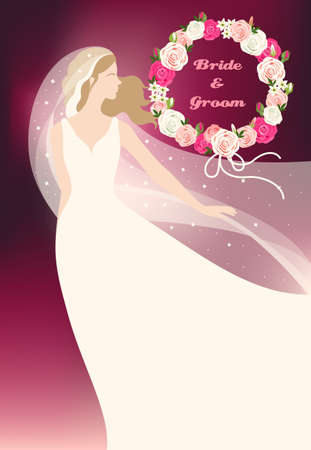 Illustration of bride and wreath made of roses Illustration