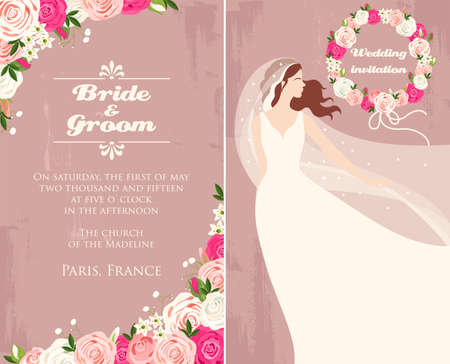 pink wedding: Illustration of wedding invitation with bride and roses