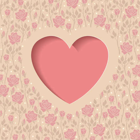 Illustration of postcard with heart and roses Vector