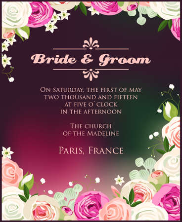 Illustration of wedding invitation with roses Vector