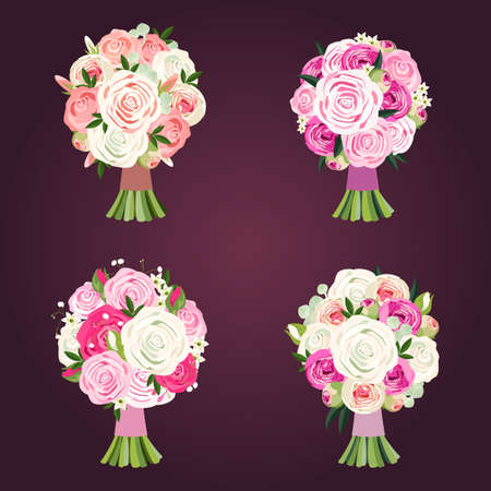 Set of wedding bouquets made of roses