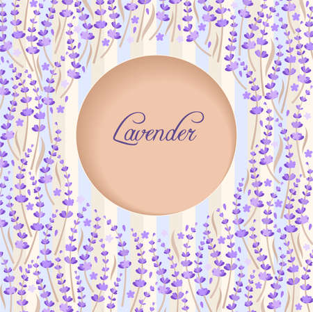 Illustration of postcard with lavender Vector