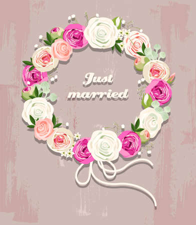 Illustration of wedding wreath made of roses Vector