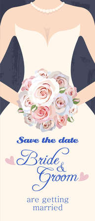 hands holding plant: Illustration of bride with bouquet of roses