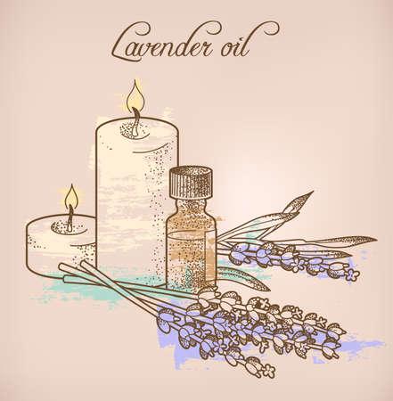 lavender oil: Illustration of lavender essential oil and candles Illustration