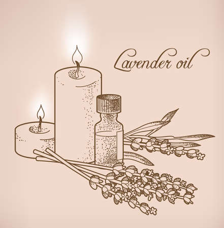 Illustration of lavender essential oil and candles Vectores
