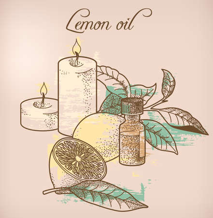 essential oil: Illustration of lemon essential oil and candles