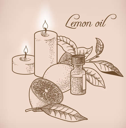 Illustration of lemon essential oil and candles
