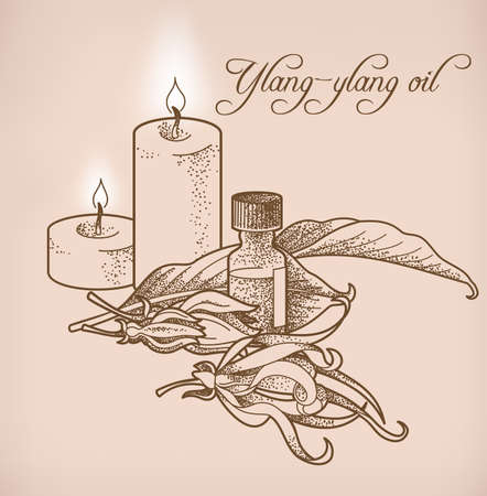 essential oil: Illustration of ylang-ylang essential oil and candles