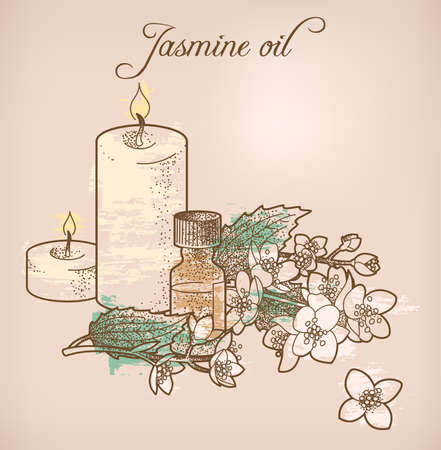 essential: Illustration of jasmine essential oil and candles