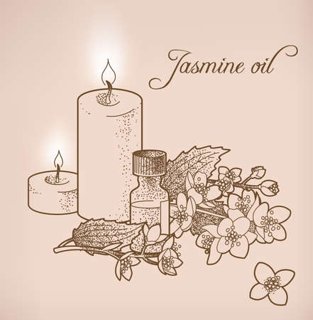 jasmin: Illustration of jasmine essential oil and candles