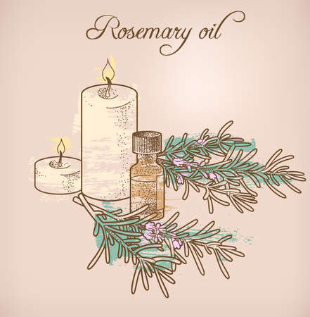 aromatherapy oil: Illustration of rosemary essential oil and candles