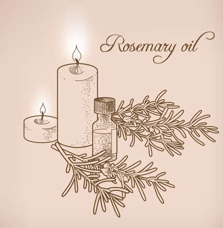 essential oil: Illustration of rosemary essential oil and candles